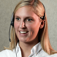 Customer service representative speaking on a headset
