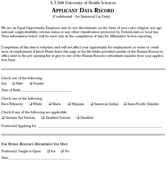 Application For Employment | A.T. Still University Of Health Sciences