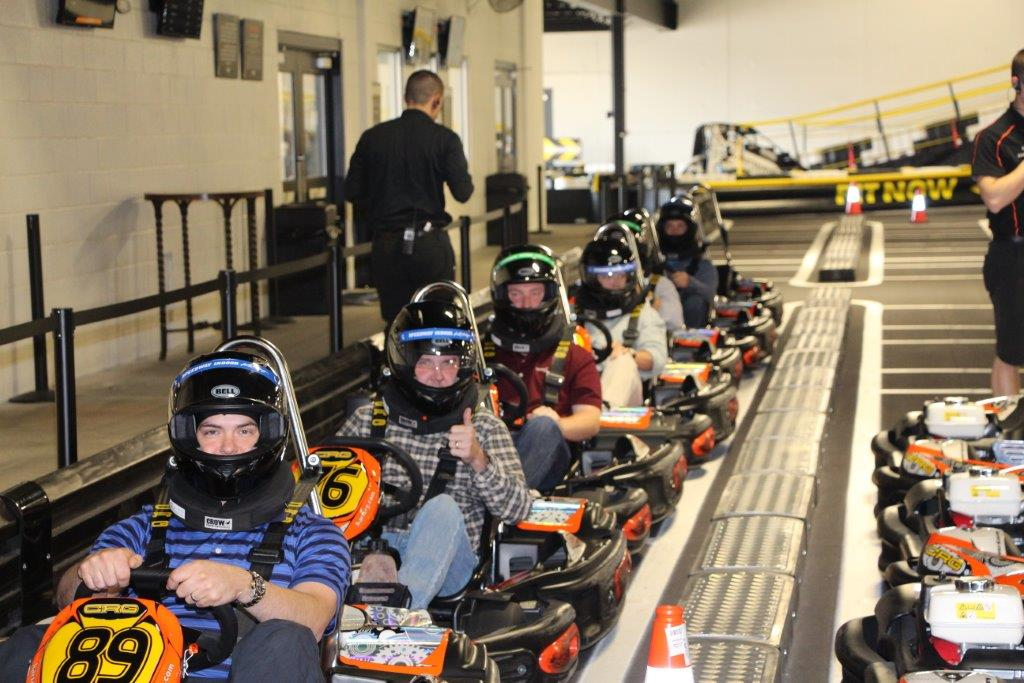 The team racing go-carts