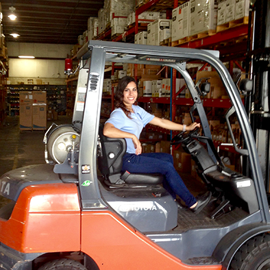 Moore Supply Co. employee using forklift