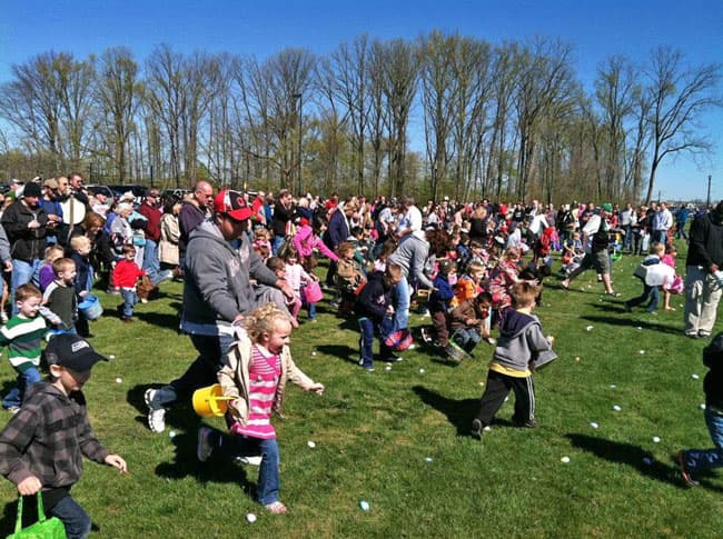Kids enjoying easter egg hunt
