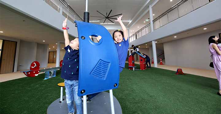 children playing on indoor playground