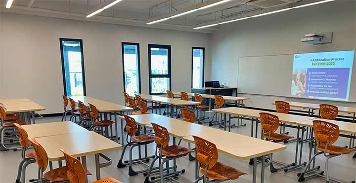 open classroom with projection on board
