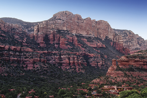 Aerial view of Enchantment Resort and its spectacular setting in Sedona, AZ